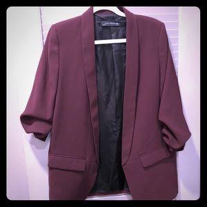 Burgundy blazer from Zara